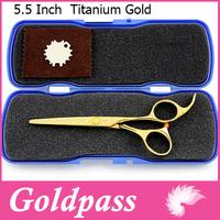 Hair Cutting Scissors Titanium Gold Color Professional Haircut Scissor Shear Free shipping