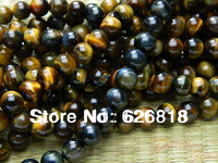 Freeshipping (3 strands/set) natural stone  8mm blue yellow tiger eye  round golden crystal beads