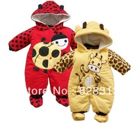 2013 new cartoon animal style cotton-padded baby's romper baby Ladybug and cows body suit autumn and winter clothing