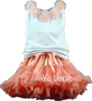 Free Shipping 2Pcs/Set Fluffy Skirt Flower Vest Set Children's Sets Baby Girl Tutu Skirt Girls Summer Clothing Set Beach Clothes