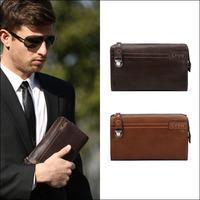 Hot Sale Fashion Vintage Designer Men's Genuine Leather Zipper Wallet Clutch Bag Handbag Purse Checkbook Organizer NO6037