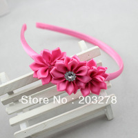 2013 newest satin ribbon flower hairband for women girl headband with diamond  hair accessory 10 pcs/lot 20 colors wholesale