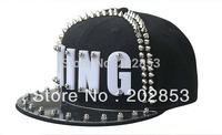 Free shipping King hip-hop hat Acrylic board rivet  jazz hat baseball spike studded cap  dance hat cap