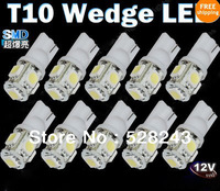HOT SELLING 10pcs White T10 Wedge 5-SMD 5050 LED Light bulbs 192 168 194 W5W 2825 158 for free shipping