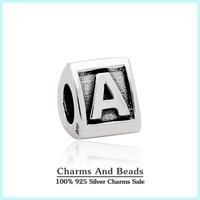 100% 925 Sterling Silver Alphabet Letter A-M Charm DIY Bracelets Jewelry Making Fits Pandora Style Bracelets