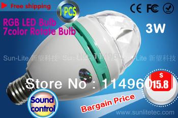 7color,LED Sound control RGB Bulb Light Autorotation Bulb Lamp Stage bulb light Free shipping Long-term wholesale 1pcs/lot