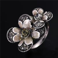 2014 New Fashion Silver Plated Rhinestones Retro Flower Vintage Rings For Women