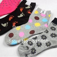 Factory wholesale cartoon socks women socks cotton casual women's socks carteira feminina plus size 10 piece/lot different color