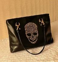 2013 new arrival fashion brand 100% high quality assurance handmade skull head rivet bag cross-body shoulder women Handbags