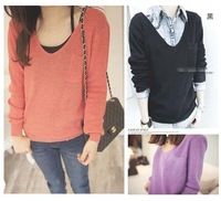 Fashion Spring Autumn pullover sweater for women /lady Tops blouse V-Neck pocket candy-colored knit sweater 6colors for choose.