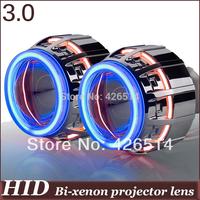 General installation! 3'' inch H1 H4 H7 H11 9005 9006 HID Bi-xenon  Projector Lens double 4mm CCFL Double Angel Eye Devil Eye
