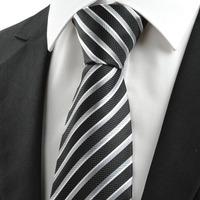 High Quality Black Gray White Stripe Silk Ties Jacquard Woven Cheap Ties for Men