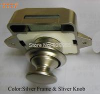 Push Lock for motor home/Push Knob for yacht/caravan/houseboat/boat  Silver Frame & Silver Knob