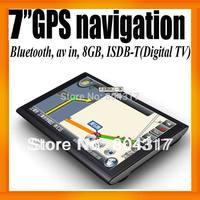 "7"" Universal GPS Navigator+Bluetooth+AV IN +128MB/8GB+ISDB-T+FMT+MP3/4+Ebook Reader+Free Map Voice Guider"