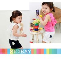 new Summer Fashion kids pajama sets little star design clothing set baby wear boys girls sleeveless hooded suits K0480