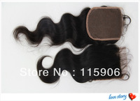 3.5*4 inch Body Wave Virgin Brazilian Hair Closure Free Style Slightly Bleached Knots