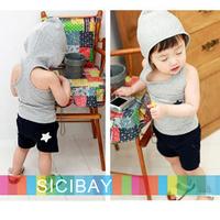 summer New Fashion kids pajama sets hat design Cute Baby wear Boys Girls Sleeveless clothing set Free Shipping K0480