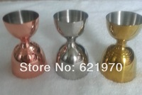Free Shipping of heavy Stainless Steel 35/65ml Jigger, Measuring Cup, jar, candle holder, copper gold jigger