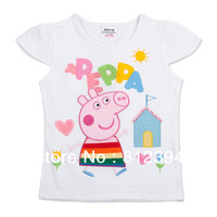 FREE SHIPPING K4079# Kids wear clothing 2013 fashion hot cotton peppa pig short sleeve t-shirts