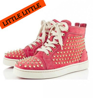 Free Shipping!Pink color women red bottom sneakers with golden ,Spikes Louis sneakers brand shoes for men