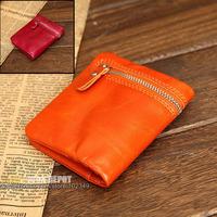Designer Genuine Leather Wallet Women,Waxed women wallet with zipper pocket, Rose Red/Orange women purse ,small, oiled