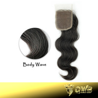 Free shipping Top Closure 4''x3.5'' (H/L) Slightly Bleached Knots Brazilian Virgin Hair Hand Tied Free Parted Lace Closure