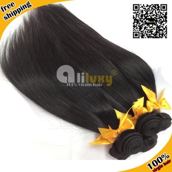 "Top-rated Unprocessed Virgin Hair Free shipping, 6A GRADE Peruvian hair 3pcs/lot,human hair extension straight, color1b# , 8-28"""