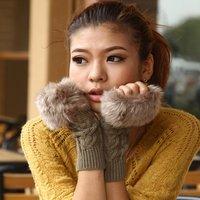 Free shipping !Autumn and Winter Imitation Rabbit fur Women  Wool Gloves / Half-finger Gloves / Knitted Mittens Lengthen,ST318-1