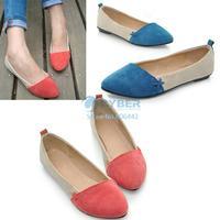 Big Discount!!  New Women Girl Casual Comfort Ballet Patchwork Low Heels Flat Loafers Shoes 3 Color 7760
