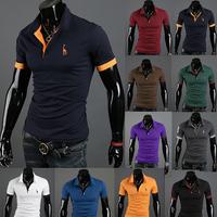 Deer Embroidery XXL T-Shirt Men Brand Turn-Down Collar Short Sleeve Slim Fit Cotton Casual T Shirt Men's Clothing 8.19 Sale
