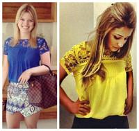 tops new 2014 spring Blusa women autumn -summer fashion T-shirt lace flower patchwork chiffon blouse-chiffon plus size XXXL