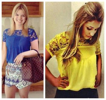 tropical tops new 2015 summer women fashion T-shirt top qualified lace flower patchwork chiffon plus size dropshipping tee shirt