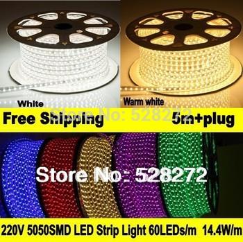 5m 220V 5050 waterproof led strip+power plug, 60LED/m,Red/Green/Blue/purple/RGB/warm white/white led tape for home decoration