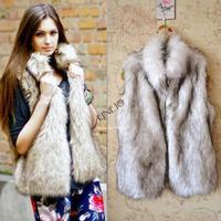 2014 New Autumn Winter Faux Fur Vest Colete Winter Jacket Womens Coat Plus Size Fur Coat Waistcoat Drop Shipping #2 SV005838