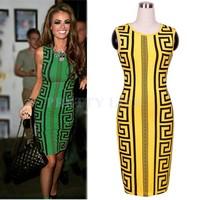 2014 New Hot Sale Print Sleeveless Bodycon Bandage Dress summer Elegant women Party Pencil Ladies Dress S,M,L,XL b4 SV006276