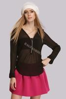 Women Blouses 2015 Autumn Female Clothes V Neck Long Sleeve Casual Chiffon Zipper Slim Top Blouse Blusas Femininas SV16 SV009802