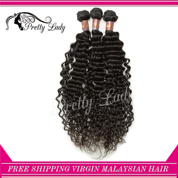 "Pretty lady 3pcs/lot Malaysian Virgin Hair Extensions deep curl  size 8""-28"" natuarl color DHL Free shipping"
