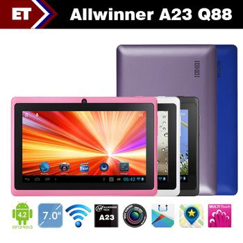 7 pollice android 4.2 q88 tablet pc 512 m di ram 4 gb doppia fotocamera wifi allwinner a23 dual core capacitivo schermo 2160 p
