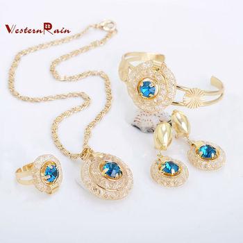WesternRain Blue Stone Vintage Charm Necklace Vners jewellery,Fashion Jewelry Set(ensemble de bijoux)For Women,Free Shipping