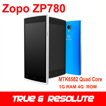 "Original Zopo ZP780 MTK6582 Quad Core Cell Phone 5.0"" 1G RAM 4G ROM Dual Sim Card Dual Camera 960*540 TFT Resolution"