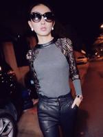New 2014 Women's Blouses Long Sleeve Lace Blouse Tops Shirt Patchwork Slim Fit Blusas Renda Femininas S M L XL XXL free shipping