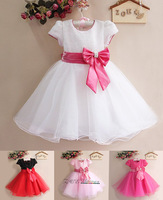Retail-New 2013 Baby Girl Wedding and Party Dresses, Hot white/Red with big Bow Girl's Gorgeous Princess Dress, Free Shipping