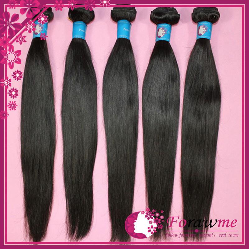 Forawme hair products 1b human hair unprocessed peruvian virgin hair straight weave 3 4 bundles lot pervian hair weft(China (Mainland))