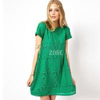 2014 spring new European & American ladies short sleeve lace dress bottoming dress loose big yards plus size #2 SV000069