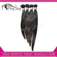 Pretty Lady hair 4pcs/lot 6A 100% Virgin brazilian straight remy human hair weaves natural color aliexpress uk shipping