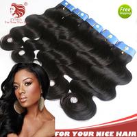 "3pcs/lot Brazilian body wave hair weaves 100% grade 6A virgin human hair extensions 8""-36"" mix length fast free shipping"
