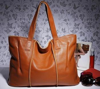 High Quality 100% Genuine Leather Women Handbags Big Size Shoulder Bag Portable Bucket Shopping Bag Tote BH-282 Free Shipping