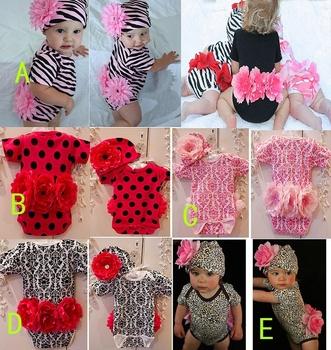 HB0283 fashion baby clothing set (2PC), leopard short sleeve romper+ hat big flower, girl clothes, kids clothing set,Honey Baby