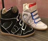 New 2015 Isabel Marant Bekett Women Sneaker Original Sole Genuine Leather Platform Shoe Brand Autumn Ankle Boot Gumshoe spring
