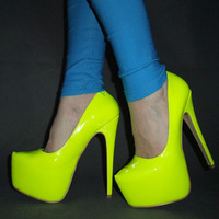 New arrived 2013 Free shipping Women Hot Neon color  sexy 16CM ultra High heel Pumps/Pink yellow platform party shoes Size 35-45
